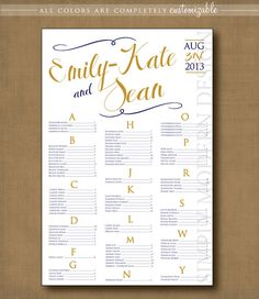 swirls wedding seating chart, PRINTABLE #wedding #seatingchart