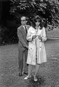 Anna and Jean-Luc Godard on the set of Made in USA, 1966.