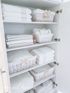 Linen Closet Organisation - From Great Beginnings - Healty fitness home cleaning Bathroom Closet Organization, Linen Closet Organization, Bathroom Organisation, Organization Ideas, Bathroom Storage, Cleaning Cupboard Organisation, Organising Ideas, Wardrobe Organisation, Pantry Storage