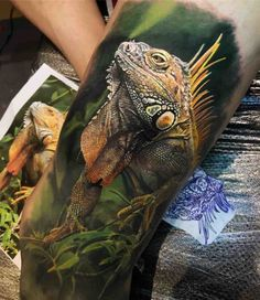 Iguana tattoo by © Steve Butcher Tattoos Dog Tags Tattoo, Dog Tattoos, Animal Tattoos, Body Art Tattoos, Tatoos, Iguana Tattoo, Lizard Tattoo, Japanese Tattoo Designs, Tattoo Designs Men