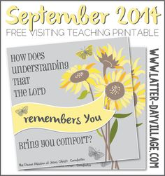 FREE September 2014 Visiting Teaching printable handout! www.LatterDayVillage.com #LDS #ReliefSociety #VisitingTeaching