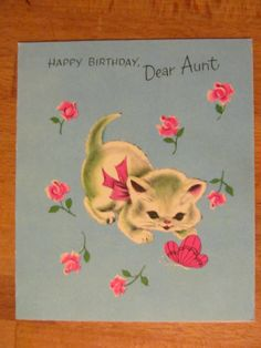 Vintage Charm Craft Birthday Card Cat and Butterfly Kitten 1960'S | eBay
