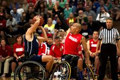 Marine wounded warriors rock the Navy in wheelchair basketball during the 2013 Warrior Games in Colorado Springs, Colo., May 12.  (U.S. Marine Corps photo by Sgt. Tyler L. Main/Released)