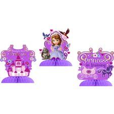 "Sofia the First Centerpiece Table Decorations. One set of 3 Sofia the First Centerpiece Table Decorations. Each one sits on a honeycomb base and is 6"" high.  Perfect to arrange on any table! Find this at www.ezpartyzone.com/pd-sofia-the-first-centerpiece-table-decorations.cfm"