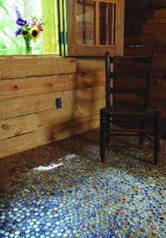 EIn Fußboden aus flaschendeckeln