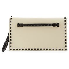 Valentino 'Small RockstudBicolor' Leather Flap Clutch (5,420 PEN) ❤ liked on Polyvore featuring bags, handbags, clutches, leather flap handbag, brown leather purse, valentino handbags, brown handbags and leather clutches