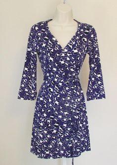 Diane von Furstenberg New Julian two mini Spotted Floral cat purple 4 wrap dress #DianevonFurstenberg #WrapDress