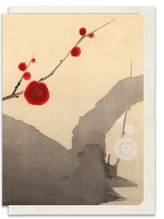 Greeting Card - Red and White Plum Blossom