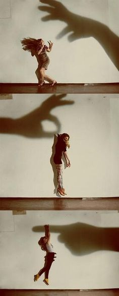 These photos use shadows to create dynamic and interesting photo. By using a spotlight and the shadow of a hand this photo series plays with the perspective of the viewer. The subject is seen as small while the shadow cast by the hand is large giving it a certain power over her. This evokes a sense of intimidation and fascination.