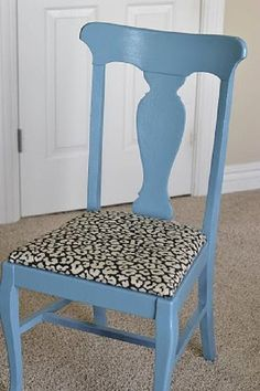 DIY Idea: Make a statement on an old piece with paint and pattern! DecoArt has the tutorial for this office chair redo. || @decoart