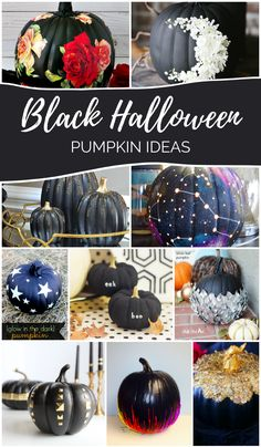 16 gorgeous black Halloween pumpkins that you can make. #halloween #halloweendecor #pumpkin #pumpkincraft #halloweencraft #blackpumpkin Halloween Season, Spooky Halloween, Holidays Halloween, Halloween Pumpkins, Halloween Crafts, Vintage Halloween, Halloween Party, Halloween Halloween, Pumpkin Art