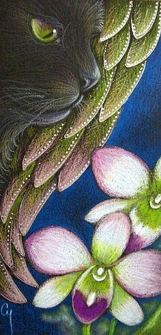 Cyra R. Cancel - BLACK ANGEL CAT - 2 ORCHID FLOWERS - Pencil