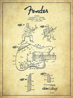 Fender Poster featuring the drawing Fender Guitar Patent Drawing From 1960 by…