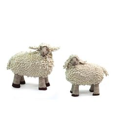 Look what I found on #zulily! Chenille Sheep Figurine Set #zulilyfinds