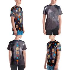 A men's all over print/graphic t-shirt featuring the planets of our solar system and stars. Hooded Sweatshirts, Hoodies, Rash Guard, Solar System, Planets, Stars, T Shirt, Beautiful, Women