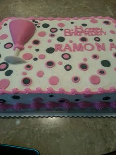 Pink and Black Birthday Cake