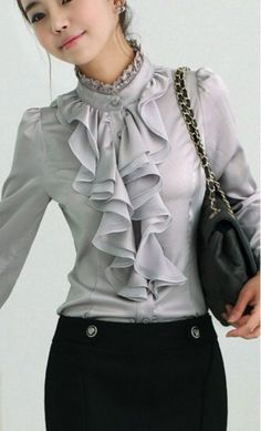 Harmony womens ruffled button up work blouse with lace high neck collar available in grey, black, pink and white S-XL