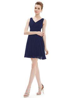 Elegant Sleeveless Royal Blue V-neck Short Party Casual Dress