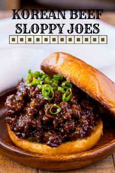 Korean Beef Sloppy Joes – Dinner, then Dessert Korean Beef Sloppy Joes made with sweet and spicy flavors with a punch of garlic that's a fun change from the classic sloppy joes. Asian Recipes, Beef Recipes, Cooking Recipes, Thai Recipes, Burger Recipes, Lunch Recipes, Recipies, Delicious Vegan Recipes, Yummy Food