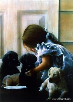 The puppies gather around this little girl because it looks as though she has brought them something to drink. Nothing more adorable than children and puppies. This print is available unframed in size