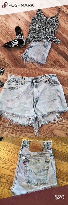Distressed Levi's vintage shorts Amazingly comfortable shorts. Made to look worn otherwise worn only a few times. They are light purple purchased at urban outfitters Levi's Shorts Jean Shorts
