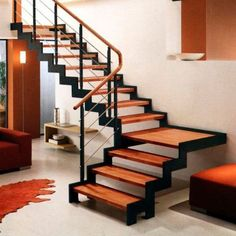 - Quarter-turn staircase / wooden frame / metal frame / wooden steps by Hangzhou Mansion Material Wood Railings For Stairs, Stair Railing Design, Home Stairs Design, Staircase Railings, Interior Stairs, House Design, Metal Stairs, Steel Stairs Design, Home Plans