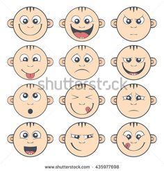 Set of baby smiley. Cute cartoon kids emoticon