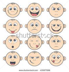 Set of baby smiley. Cute cartoon kids emoticon