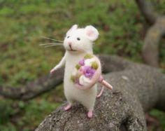 Carino mouse, mouse, mouse bianco, feltro animale del feltro dell'ago, ago feltro in miniatura, regalo di compleanno, decorazione interni