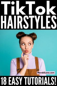 18 TikTok Hairstyles for All Hair Lengths | If you're looking for a collection of popular TikTok hair trends, this post is for you! We've curated the best easy TikTok hair tutorials for short, medium length, and long hair, which work with straight, wavy, and curly hair, allowing you to look your best - even when you're running late. We've included a mix of half up half down styles, braided hairstyles, messy buns, ponytail upgrades, and more stylish updos you can recreate in mere minutes!