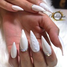 white on white manicure stiletto acrylics