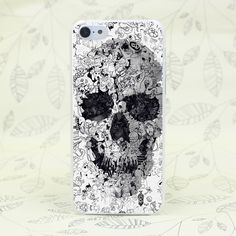 286F Doodle Skull Bw Hard Transparent Case Cover for iPhone 7 7 Plus 4 4s 5 5s 5c SE 6 6s Plus