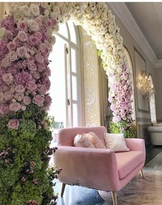 Can you imagine how special one would feel sitting on this pale pink velvet luxe lounge surrounded by this floral arch of such pretty blooms! Country Wedding Dresses, Black Wedding Dresses, Princess Wedding Dresses, Floral Arch, Event Decor, Floral Arrangements, Wedding Flowers, Arch Wedding, Wedding Bells