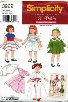 SIMPLICITY PATTERN 3929 18  VINTAGE RE-ISSUE DOLL CLOTHES - DRESS, BLOUSE, SKIRT