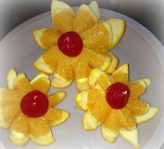 Floral oranges... Great for party trays naranjas florales ..... perfecto para bandejas para fiestas. Pudding, Catering Ideas, Fruit, Breakfast, Sweet, Desserts, Food, Party Platters, Fruit Trays