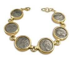 Ancient coin jewellery,roman silver denarius, set in gold bracelet.Made in and shipped from the gold bracelet set with S genuine silver Byzantine Jewelry, Coin Bracelet, Coin Ring, Coin Jewelry, Coin Pendant, Girls Jewelry, Sterling Silver Bracelets, Silver Rings, Antique Jewelry