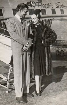 Clark Gable and Carole Lombard at Burbank Airport, November 1940