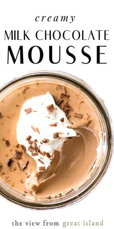 My milk chocolate mousse recipe is a lighter silkier version of a classic french chocolate mousse and it s an absolutely dreamy dessert! easy recipe french chocolate valentinesday milkchocolate best dessert chick fil a chicken nugget Cold Desserts, Chocolate Desserts, Easy Desserts, Delicious Desserts, Dessert Recipes, Gourmet Desserts, Cake Chocolate, Plated Desserts, Milk Dessert