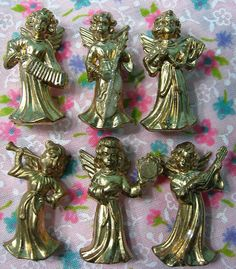 84 Vintage Miniature Angels Musical Gold Plastic by misskittys5n10