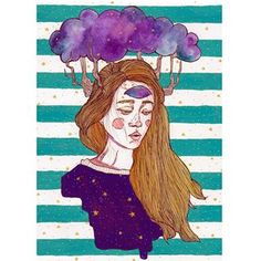 Oh, cloudy world  #illustration #watercolour #watercolor #watercolorpainting #acrylic #acrylicpaint #liner #posca #pastel #universe #stars #stripes #girl #melancholy #eye  #mood #express #art #heart  #traditionalart  #cloud #tree #blonde #turquoise #navyblue #rose #pink #purple #dots  #portrait Watercolour, Watercolor Paintings, Melancholy, Mental Illness, Traditional Art, Pink Purple, Aurora Sleeping Beauty, Universe, Dots
