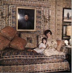 Lee Bouvier , Princess Radziwill in her London decorated Mongiardino Drawing Room with her daughter Tina