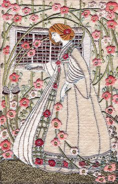 'Lady In A Garden' (Silk Embroidery, Art Nouveau Style) by Hilda Leviny (Buda Historic Home & Garden, Castlemaine, Victoria) Silk Ribbon Embroidery, Hand Embroidery Patterns, Embroidery Art, Embroidery Stitches, Embroidery Hoop Nursery, Creative Textiles, Needlework, Australian Art, Pillowcases