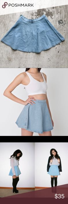 """American Apparel Denim Circle Skirt True size 4 (25/26""""). Never worn, it was too big for me and I usually were a size 0-2. No signs of wear. American Apparel Skirts Circle & Skater"""