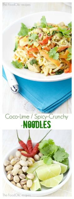 Coco-lime / Spicy-Crunchy Chicken Noodles is a non-Asian recipe containing some great texture and a smooth coconut flavor! Quick and easy, too!