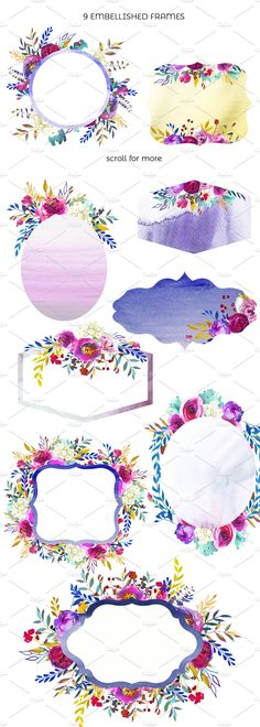 Angie Watercolor Floral Design Set by whiteheartdesign on @creativemarket