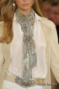 Ralph Lauren -Note the vintage Silver Indian Naja necklace that is mixed in with her scarf.