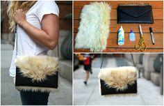 Schicke schwarze Clutch Tasche aus Leder mit weißem könstlichem Fell