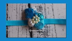 Gorgeous Teal, Turquoise, White Triple Rosette and Feather Headband w/ Pearl Flower - Baby, Girl, Photo Prop, Wedding