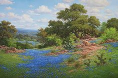 """bluebonnet oil painting by William """"Byron"""" Hagerman"""