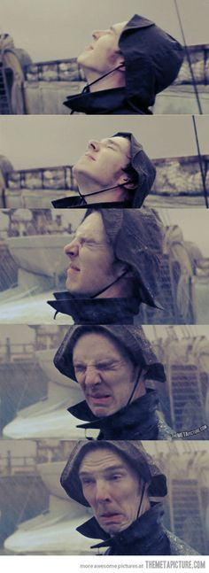 Benedict Cumberbatch doesn't like the rain…